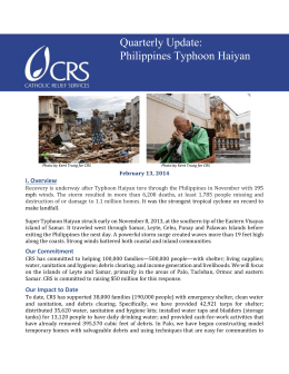 The quarterly report of Catholic Relief Services from February 2014.