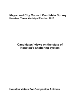 QUESTIONNAIRE - Houston Voters For Companion Animals