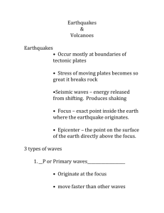 Earthquakes and Volcanoe notes - key