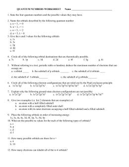Quantum Numbers Worksheet I Answers