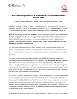 Birlasoft Emerges Winner of European IT