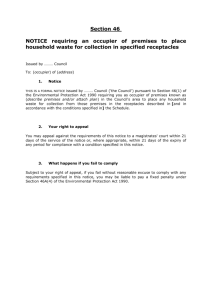 Section 46 NOTICE requiring an occupier of