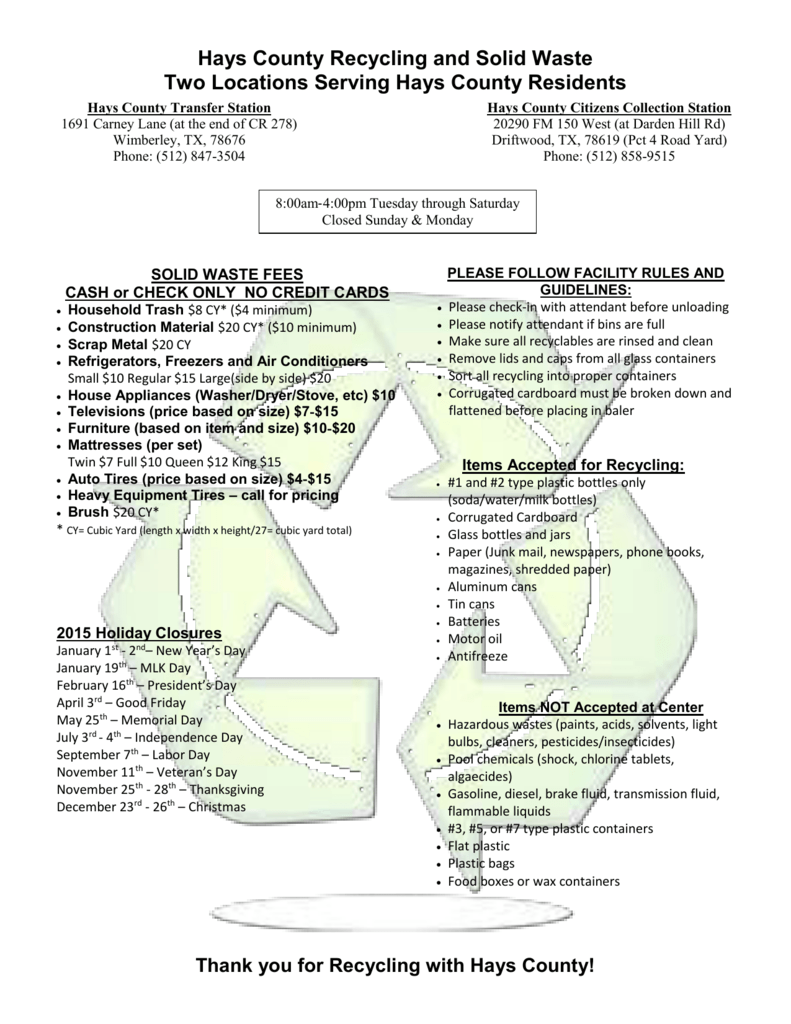 Hays County Recycling and Solid Waste Two Locations Serving