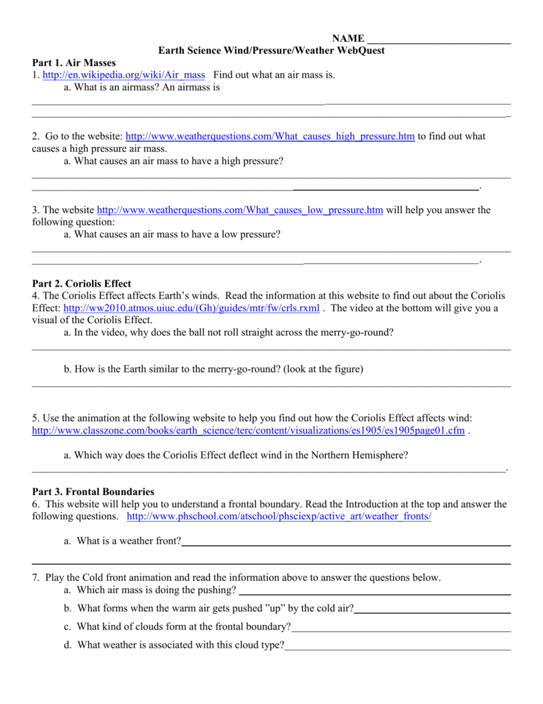 WindsFronts Webquest – Coriolis Effect Worksheet