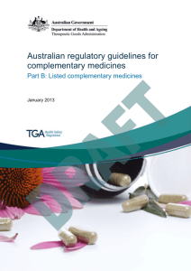 Listed complementary medicines - Therapeutic Goods Administration