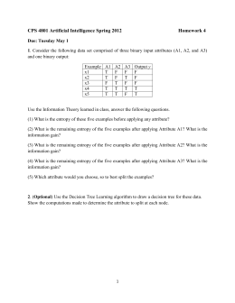 CPS 4801 Artificial Intelligence Spring 2012 Homework 4