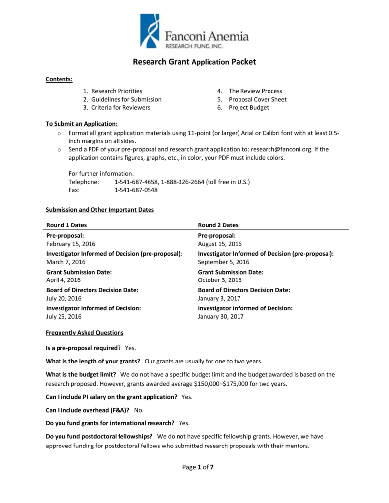 Research Grant Application Packet