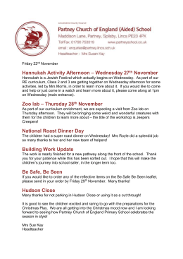 Hannukah Activity Afternoon – Wednesday 27 th November