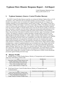 Typhoon Fitow Disaster Response Report * 3rd Report