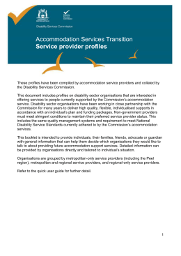 Accommodation services transition – service provider profiles