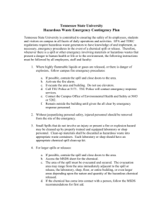 TSU Hazardous Waste Emergency Contingency Plan
