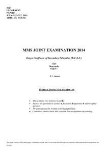 MMS JOINT EXAMINATION 2014 Kenya Certificate of