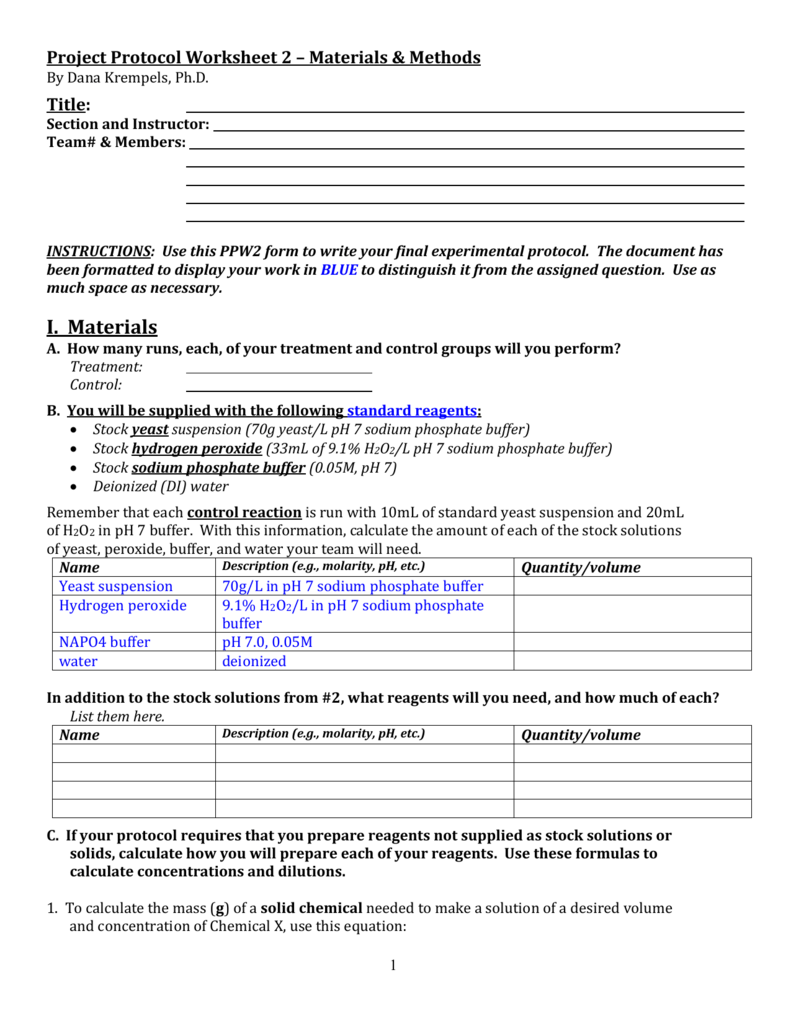 worksheet Calculating Ph Worksheet project protocol worksheet 2 materials methods ppw2