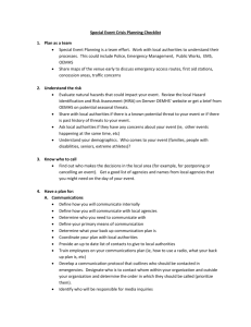 Special Event Crisis Planning Checklist