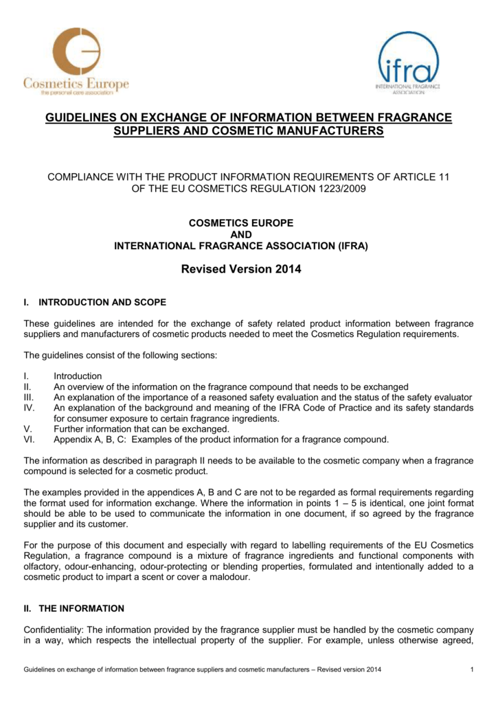 IFRA-Cosmetics Europe Guidelines on Exchange of Information
