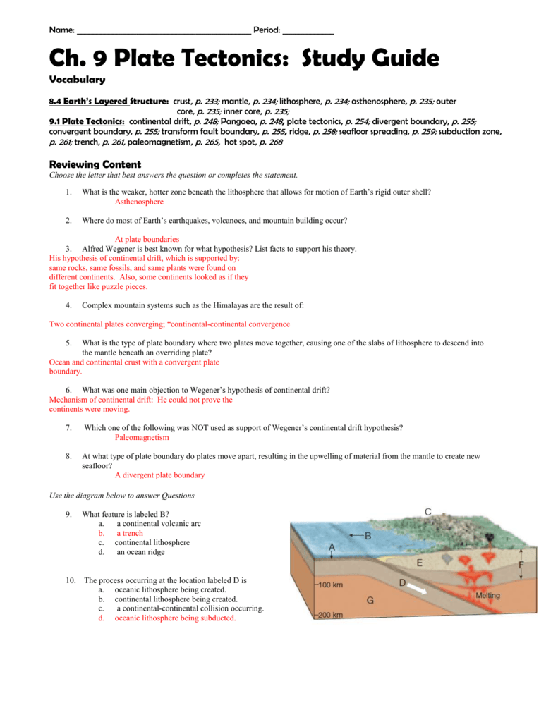 worksheet Theory Of Plate Tectonics Worksheet ch 1 intro to earth science study guide