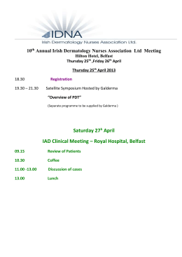 Friday 26 th April 2013 - Irish Dermatology Nurses Association Ltd.