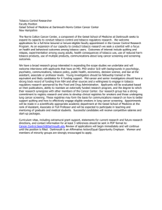 Faculty opportunity in tobacco control policy research at Dartmouth