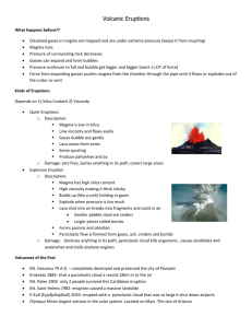 Eruptions Notes - Madison County Schools