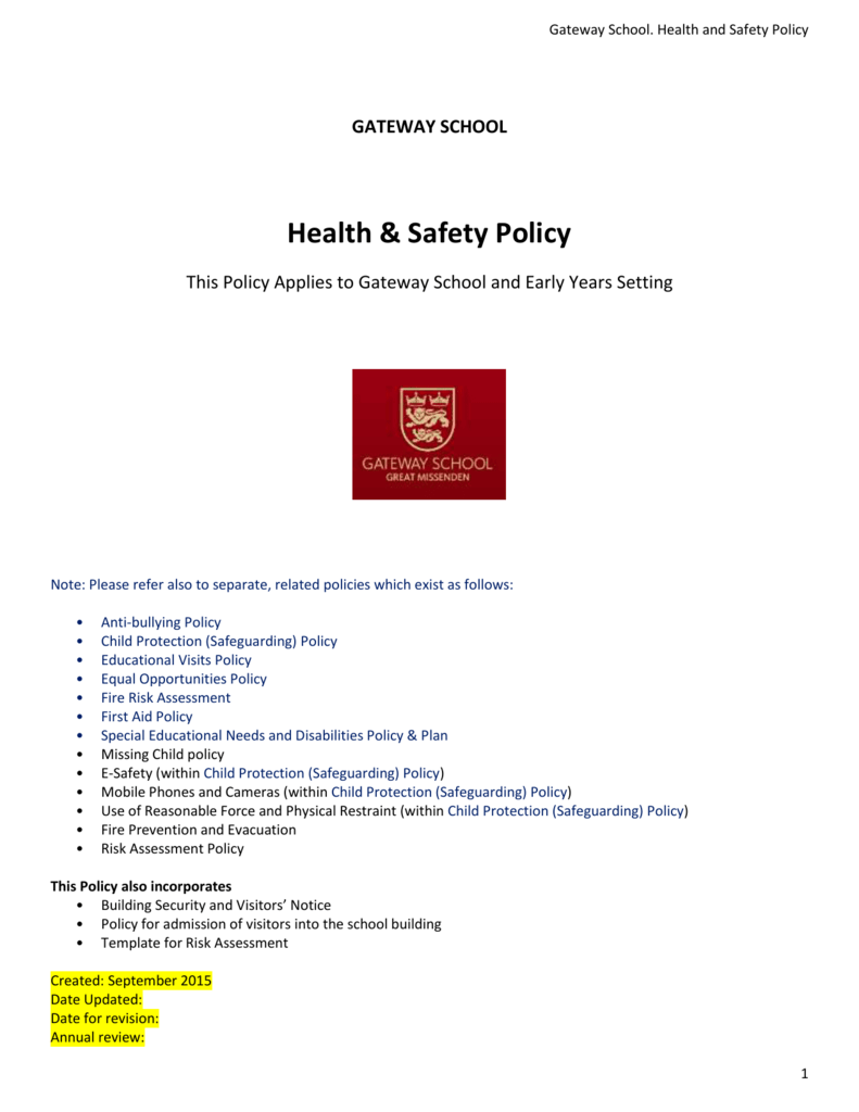 Health Safety Policy