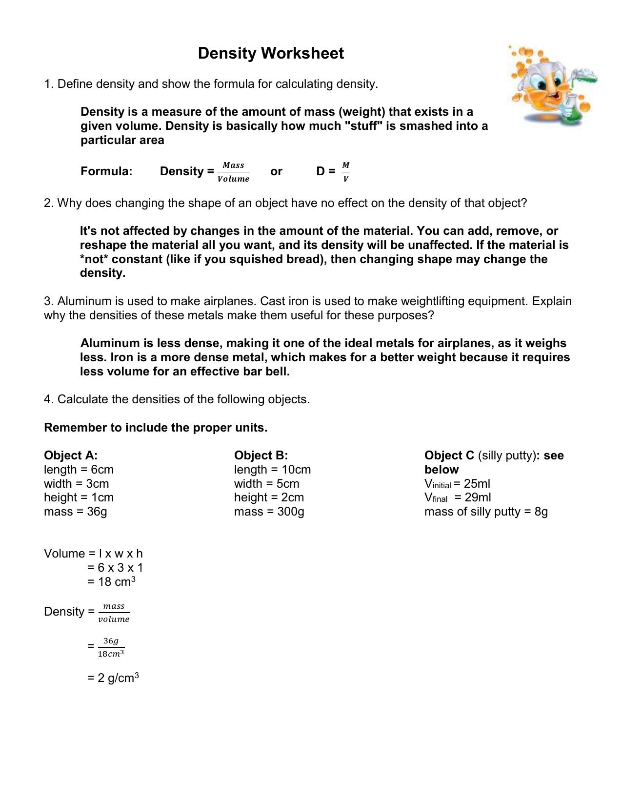 1DS 1 7c Density Worksheet