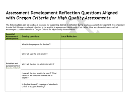 Assessment Development Reflection Questions Aligned with