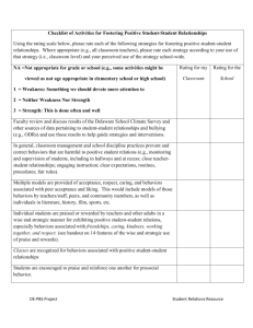 Checklist of Activities for Fostering Positive SSR