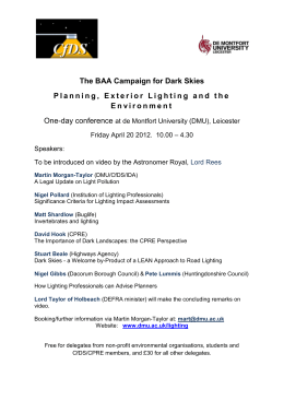 The BAA Campaign for Dark Skies Planning, Exterior Lighting and