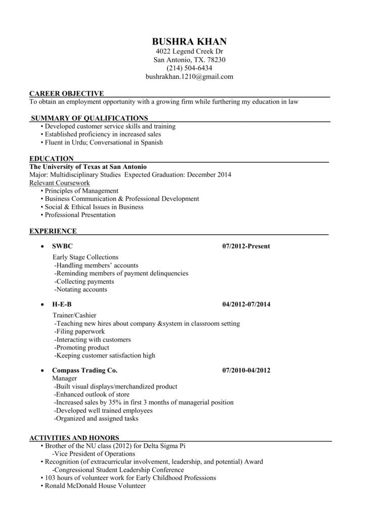 My Resume Bushra S Portfolio