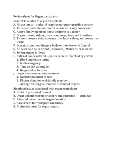 Review Sheet for Organ Transplants