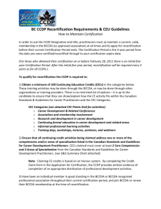BC CCDP Recertification Requirements & CEU Guidelines How to