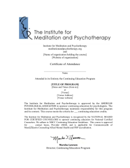 title of program - The Institute for Meditation and Psychotherapy