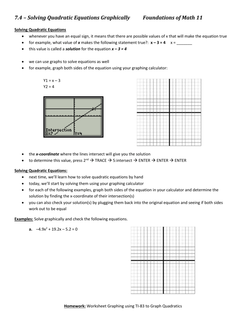 Notes Solving Equations With A Graphing Calculator