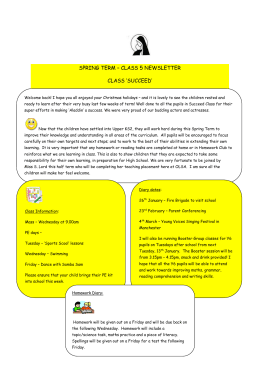 SPRING TERM – CLASS 5 NEWSLETTER Welcome back! I hope