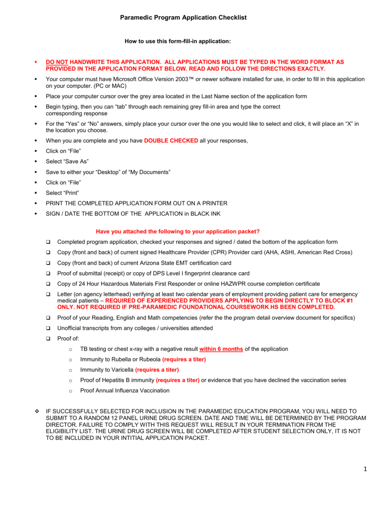Paramedic program application checklist fillable 1betcityfo Image collections