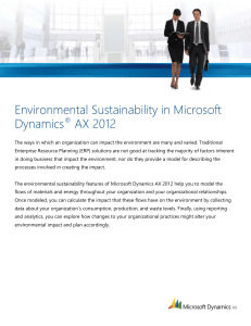 Environmental Sustainability in Microsoft Dynamics AX 2012