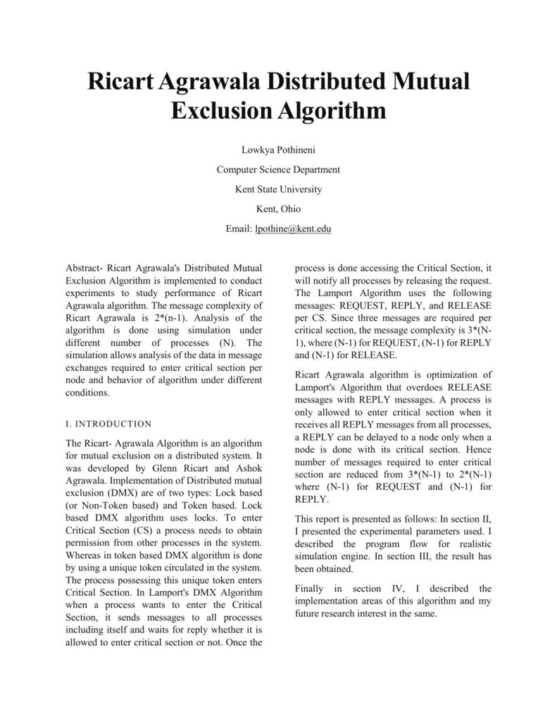 Agrawala ricart agrawala`s distributed mutual exclusion algorithm is