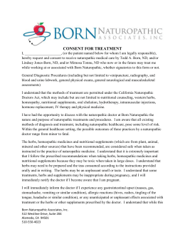 Consent to Treat - Born Naturopathic Associates