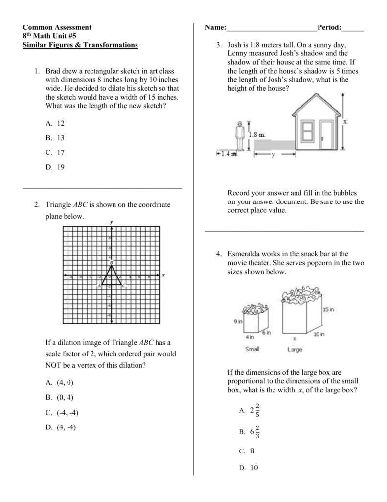 Common Assessment 8th Math Unit #5 Similar Figures