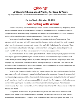 For the Week of October 22, 2012 Composting with Worms