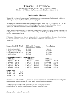 Timson Hill Preschool Application 2015 – 2016