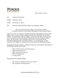 Restructuring of Student Affairs and Academic Affairs