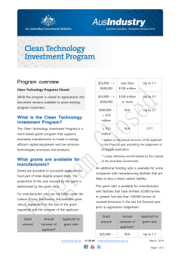 Clean Technology Investment Program Overview