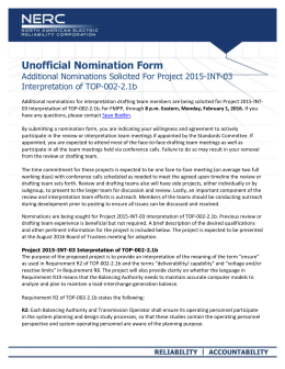 Unofficial Nomination Form