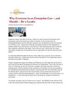 Why Everyone in an Enterprise Can -- and Should -