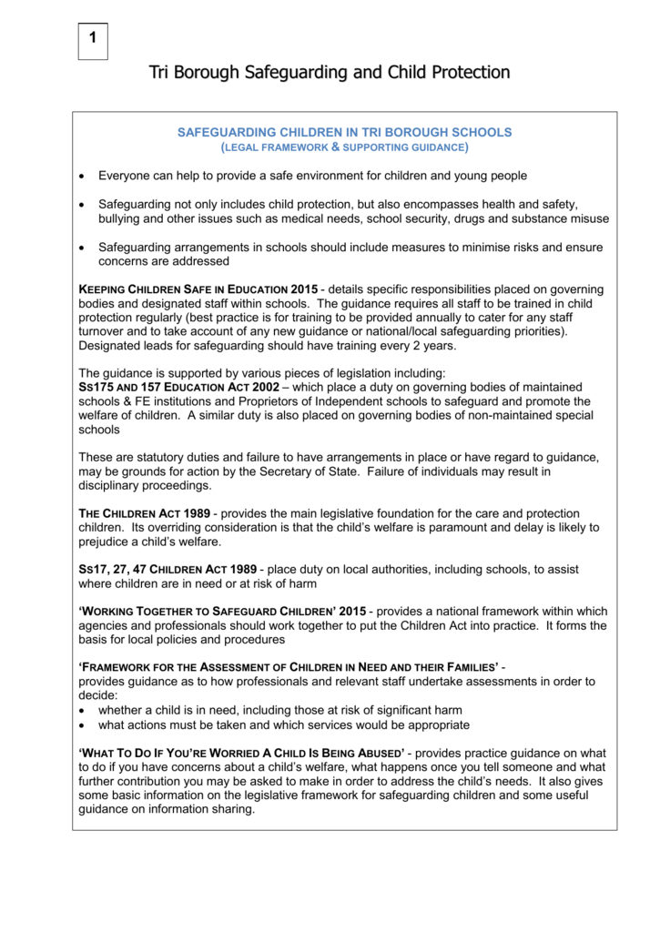 national policies for safeguarding from abuse