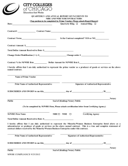 MWBE Payment Form for Primes and Subs