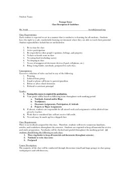 Student Name: Teenage Issues Class Description & Guidelines Mr