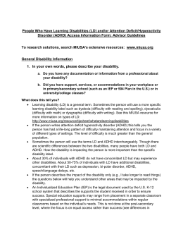 Learning Disability and ADHD - Advisor Guidelines