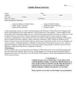 Liability Release Form For - Whispers of Hope Horse Farm